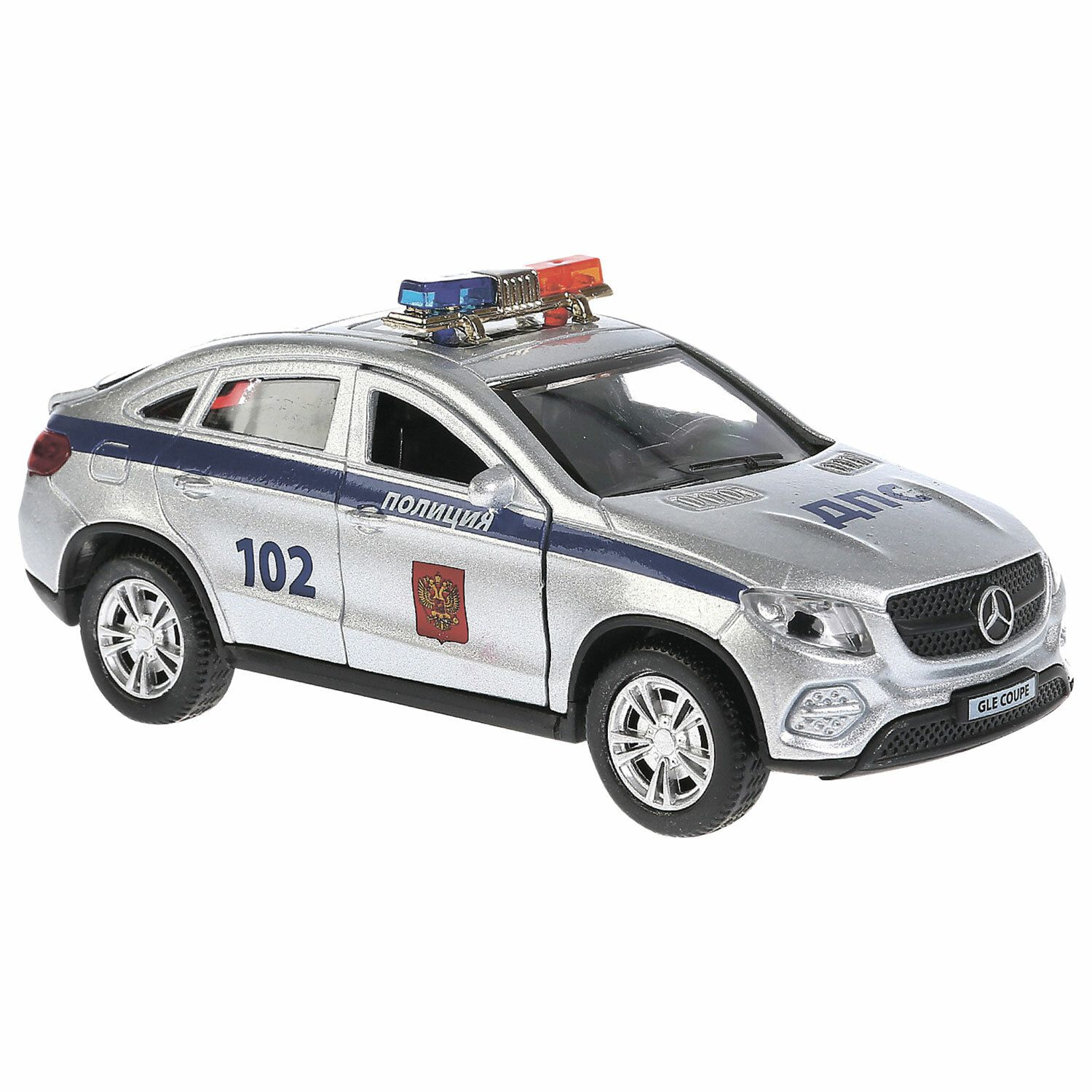 """The car is metallic """"MERCEDES-BEN GLE COUPE POLICE"""", 12 cm, inertial, TECHNOPARK"""