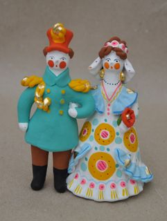Dymkovo clay toy, the bride and Groom