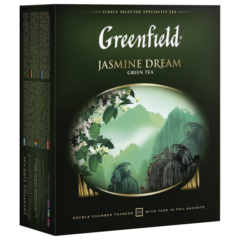 "GREENFIELD / Tea ""Jasmine Dream"" green with jasmine, 100 sachets in envelopes of 2 g"