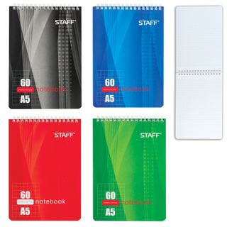 STAFF / Notebook 4 types, 60 sheets A5 (146x205 mm), comb, rigid backing, cage