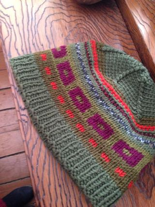 Double-sided knitted hat, handmade