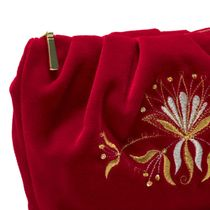 Velvet cosmetic bag 'Aida' red color with Golden embroidery