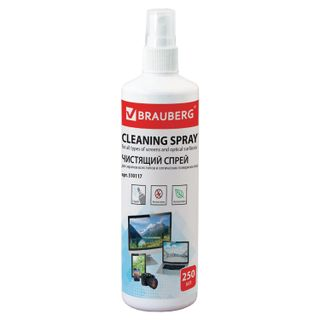 BRAUBERG / Cleaning liquid-spray for all types of screens and optics, 250 ml