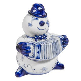The sculpture Snowman with an accordion 2nd grade, Gzhel Porcelain factory
