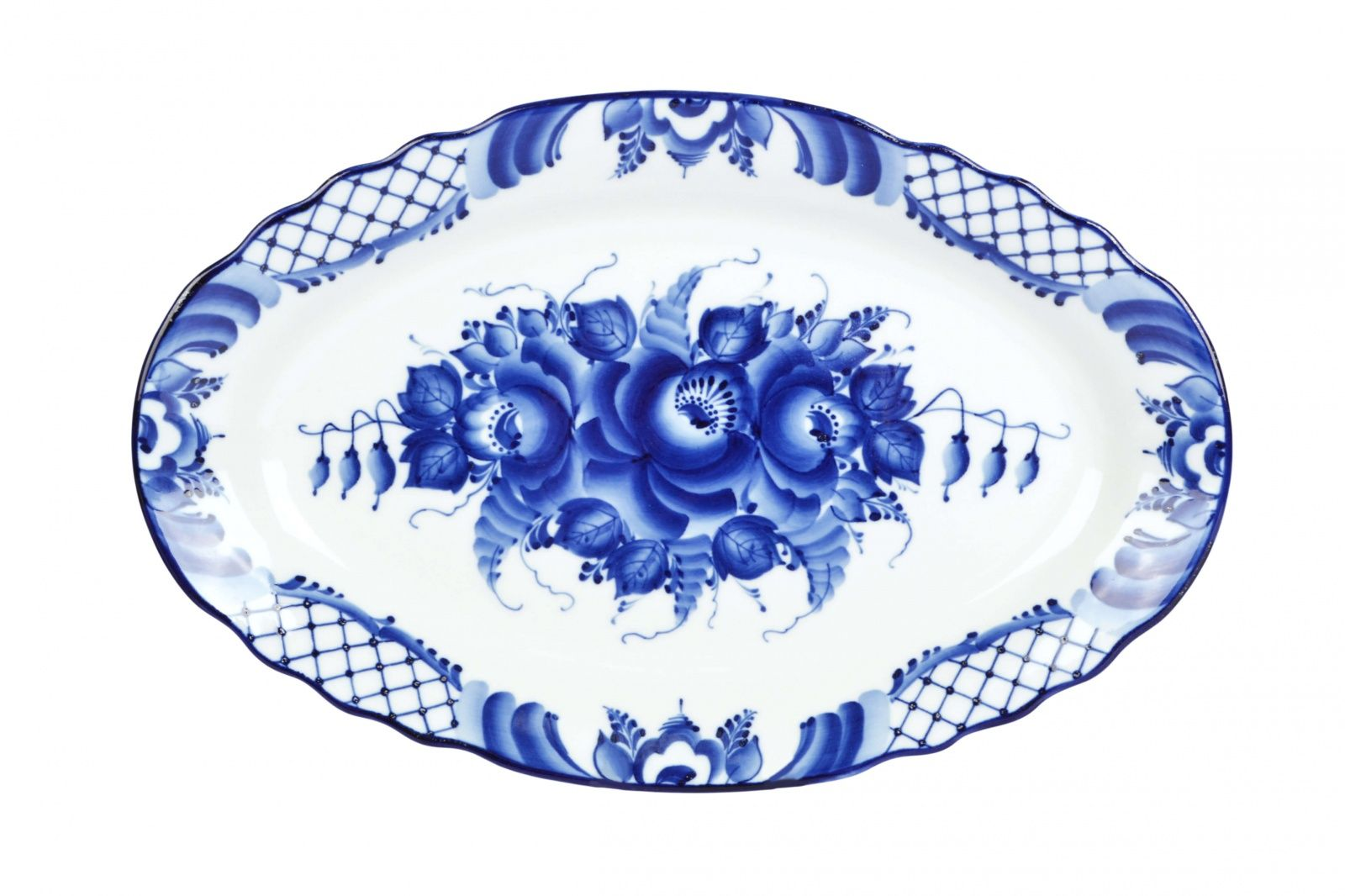 Dulevo porcelain / Oval dish 350 mm Carved edge Flowers