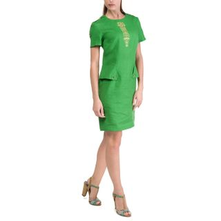Women's dress Safari green with gold embroidery