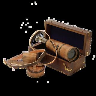 Подзорная труба с кожаным покрытием в кож. футляре-тубусе сувенирная (L макс = 47 см) 6 х 16 х 6 см