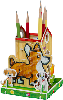 3D puzzle: pencil holder with a diamond mosaic Dog rocky