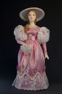 Doll gift porcelain. Lady in summer dress with a parasol. The beginning of the 19th century, Petersburg
