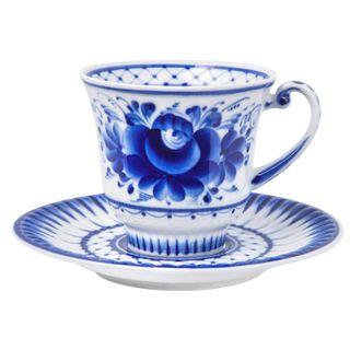 Saucer Daisy author's work, Gzhel Porcelain factory