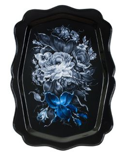 Zhostovo tray in black and white with a blue accent