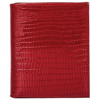Purse women's FABULA, 90х100 mm, genuine leather, hidden button, lizard, red
