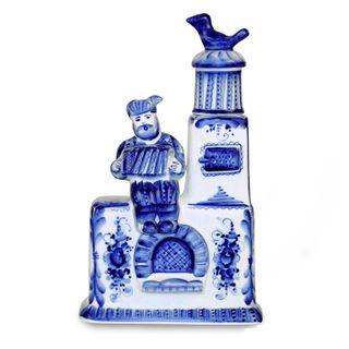"Bottle Stove ""Russian festivities"" 0.5 l 2nd grade, Gzhel Porcelain factory"