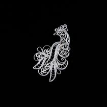 "Brooch ""the Firebird"" silvering, Kazakovo Filigree"
