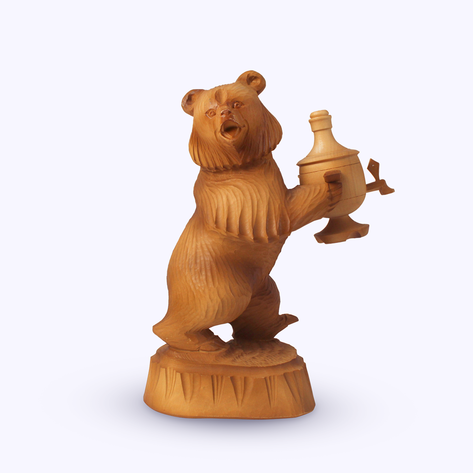 "Bogorodskaya toy / Wooden souvenir ""Bear with samovar No. 1"""