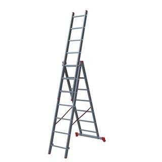 NEW HEIGHT / Transformer staircase 3-section 3x7 steps, 3x1.9 m, height 4.5 m, load 150 kg, aluminum
