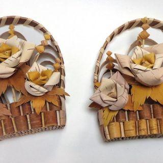 Souvenir basket with birch bark roses. ART B029.