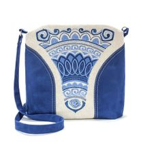 Linen bag 'Stone flower' blue color silk embroidery