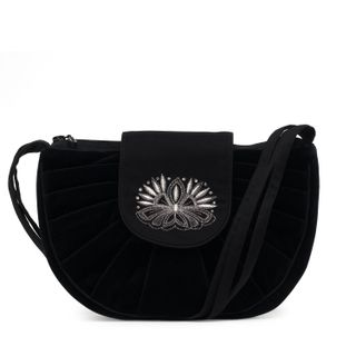 """Velvet bag """"Light"""" black color with silver embroidery"""
