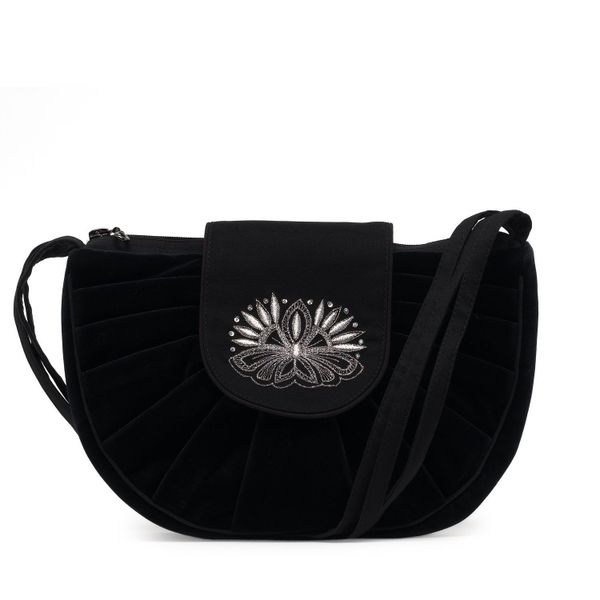 Velvet bag 'Light' black color with silver embroidery