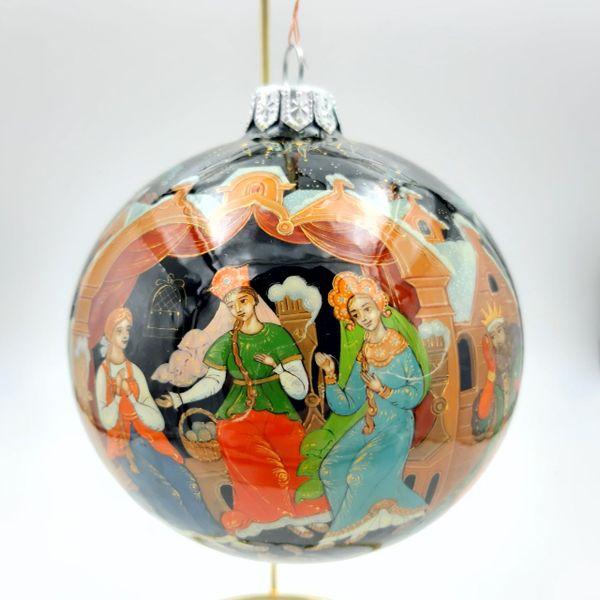 "Palekh / Christmas tree ball ""The Tale of Tsar Saltan"" glass, master Terentyev"