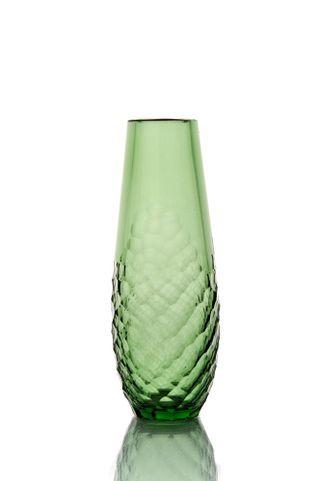 "Crystal vase for flowers ""Drop"" large light green"