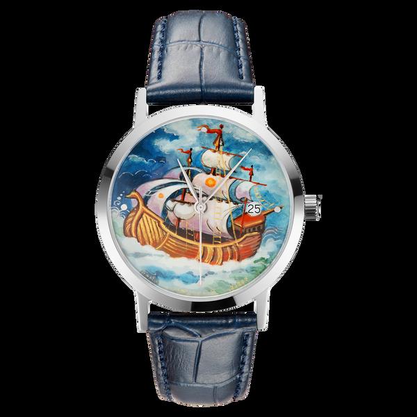 "Palekh watch ""Sailboat №55"" quartz, hand-painted, artist Mamina, navy blue band"