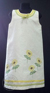 Baby dress flax Sunflowers