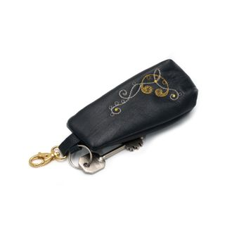 "Leather key holder ""Bindweed"" in black with gold embroidery"