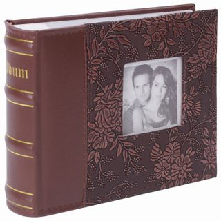BRAUBERG photo album for 100 photos 10x15 cm cover under the skin, paper pages, Boxing, brown