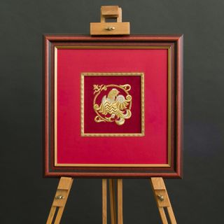 "Panels hand embroidery ""Grouse"" red color with Golden embroidery"
