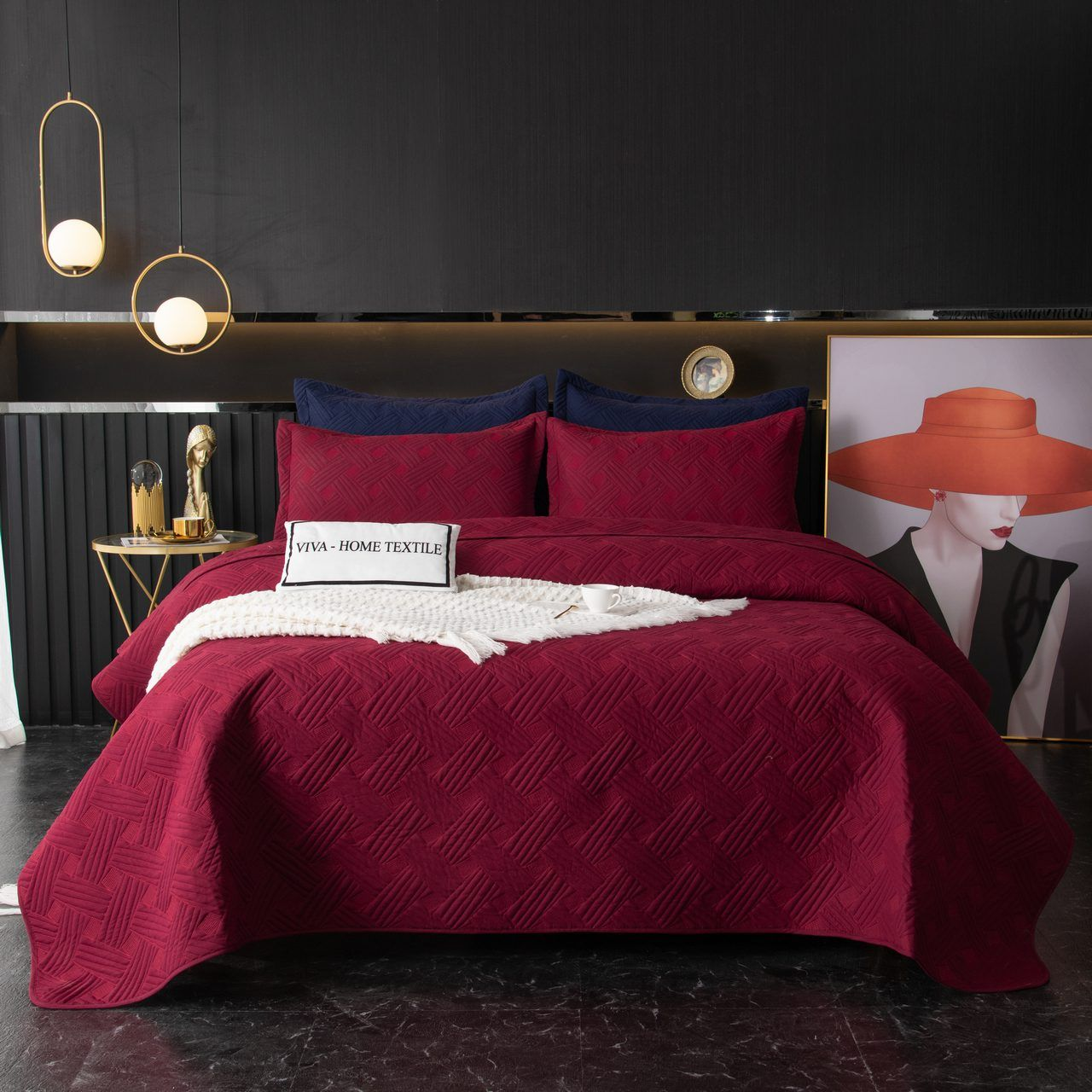 Sitrade / Set single color quilted bedspread and two pillowcases 50-70, OP026