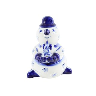 The sculpture Snowman with Christmas tree 1 grade traditional painting, Gzhel Porcelain factory