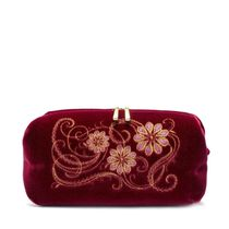 Velvet cosmetic bag 'Daisy' Burgundy with gold embroidery