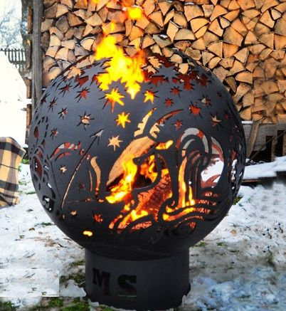 """""""Sign of the Zodiac"""" street metal fireplace for fire - laser cutting"""