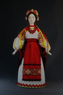 Doll gift porcelain. Maiden costume. Late 19th-early 20th century Ukraine.