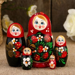"Matryoshka ""Aurora"" 5 dolls, maroon shawl with berries"