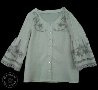 Womens linen blouse with embroidery С11567