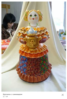 Young lady with a samovar - Kovrov clay toy