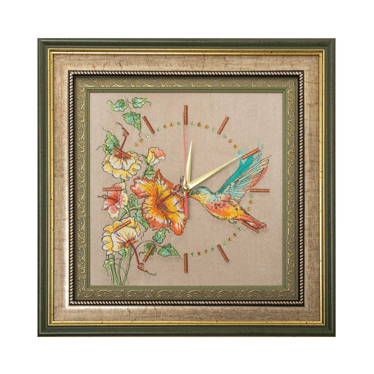 "Torzhok gold embroiderers / Panel-clock ""Kolibri"" beige with gold embroidery"