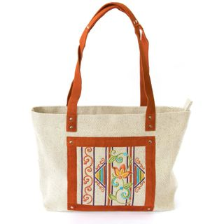 Linen bag Selena gray with silk embroidery