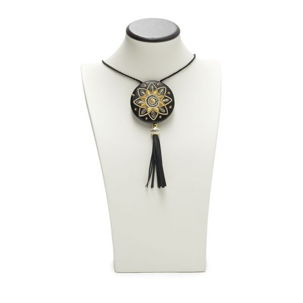 Pendant 'Christmas star' black with gold embroidery