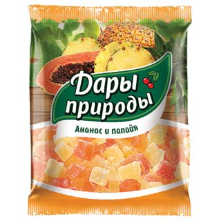 GIFTS OF NATURE / Dried candied pineapple and papaya, 150 g