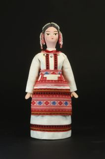 Doll gift porcelain. Chuvash, a children's costume.