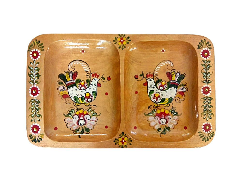"Wooden tray ""painted Onega"" 2 compartment"