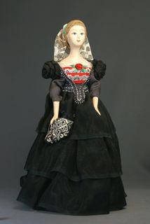 Doll gift porcelain. Girl in evening dress. The mid-19th century, Petersburg