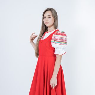 Blouse, shirt under a dress women's in Russian folk style Summer