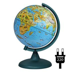 Zoogeographical Globe 210mm with backlight on a plastic stand, working from the outlet