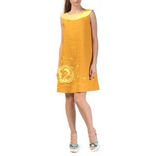 "Women's dress ""Watercolor"" yellow color with silk embroidery"