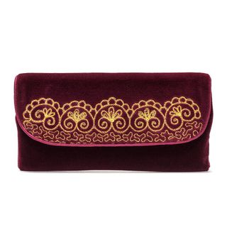 "Velvet eyeglass case ""Flowers"" maroon color with Golden embroidery"